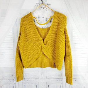 Ruby Moon Cropped Sweater Knot Front